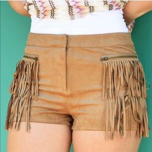 Tan Suede Shorts from Shophopes